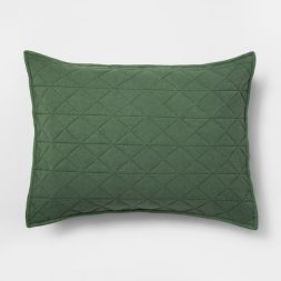 Pillowfort Vintage Wash Green Jersey Pillow Sham